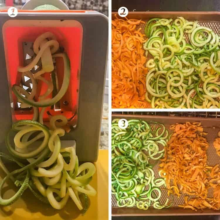 Cooking steps for healthy Mexican fish: 1. spiralize the zucchini and sweet potatoes. 2. toss with olive oil, salt and paper then spread on a baking sheet. 3. roast the spiralized vegetables.
