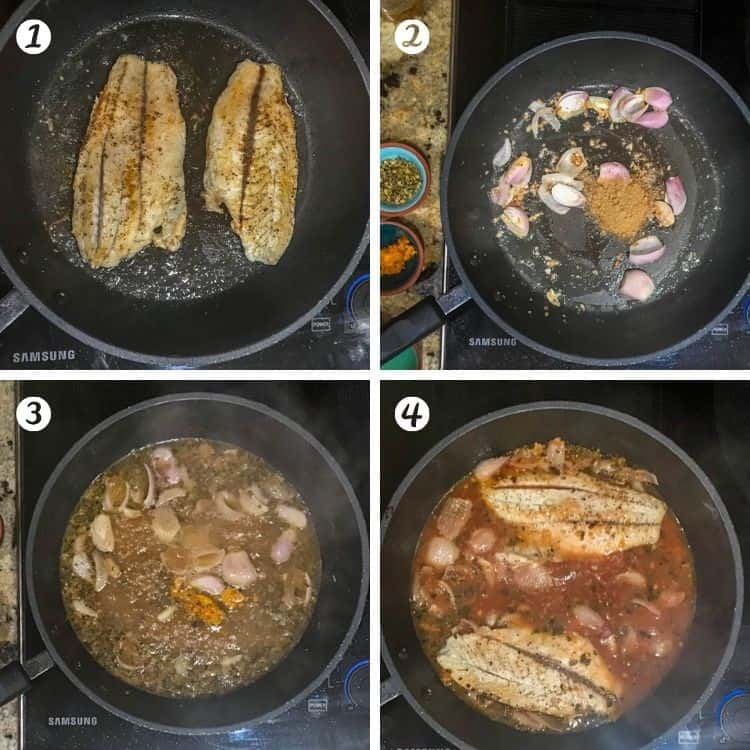 Cooking steps for healthy Mexican fish: 1. brown the fish. 2. saute the aromatics and cumin. 3. de-glaze with beer and add zest and Mexican oregano. 4. add blood orange juice, then fish fillets.