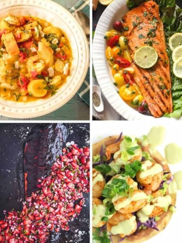 A collage of healthy Latin-inspired fish and seafood recipes for Lent.