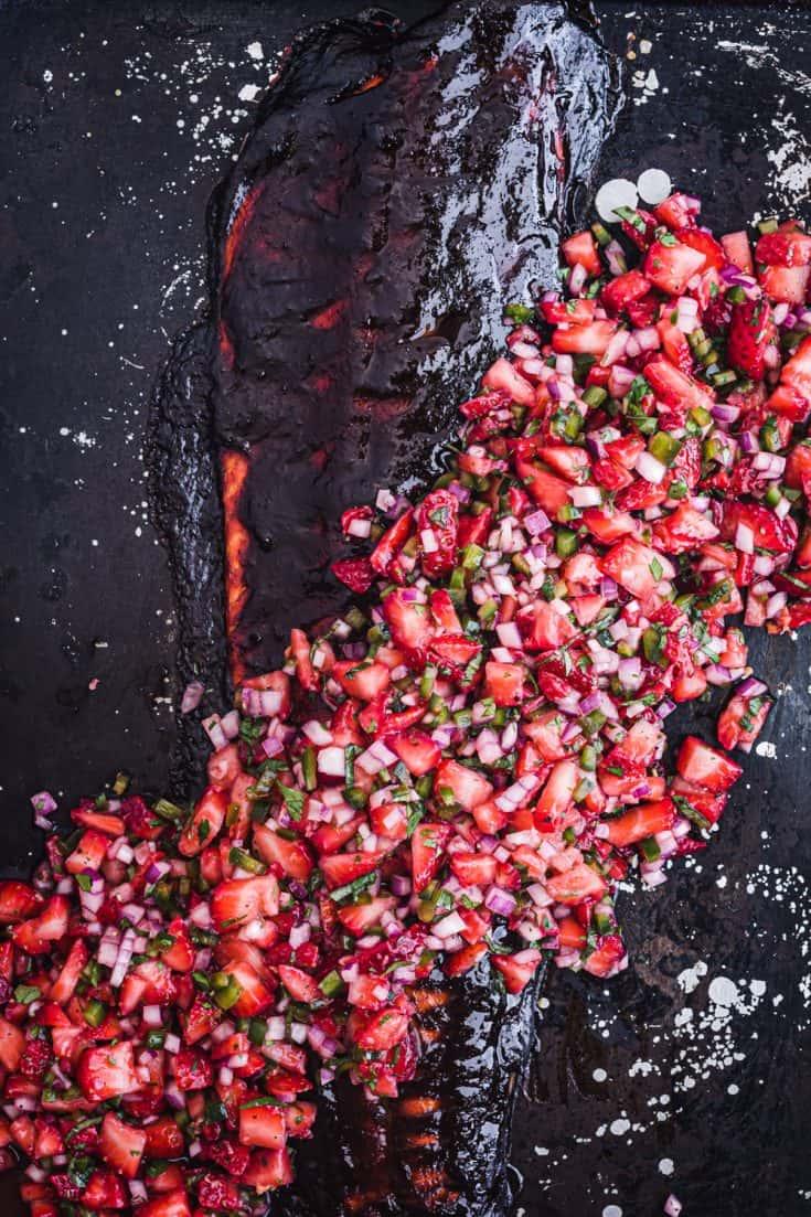 Salsa Negra Salmon with Fresh Fruit Salsa