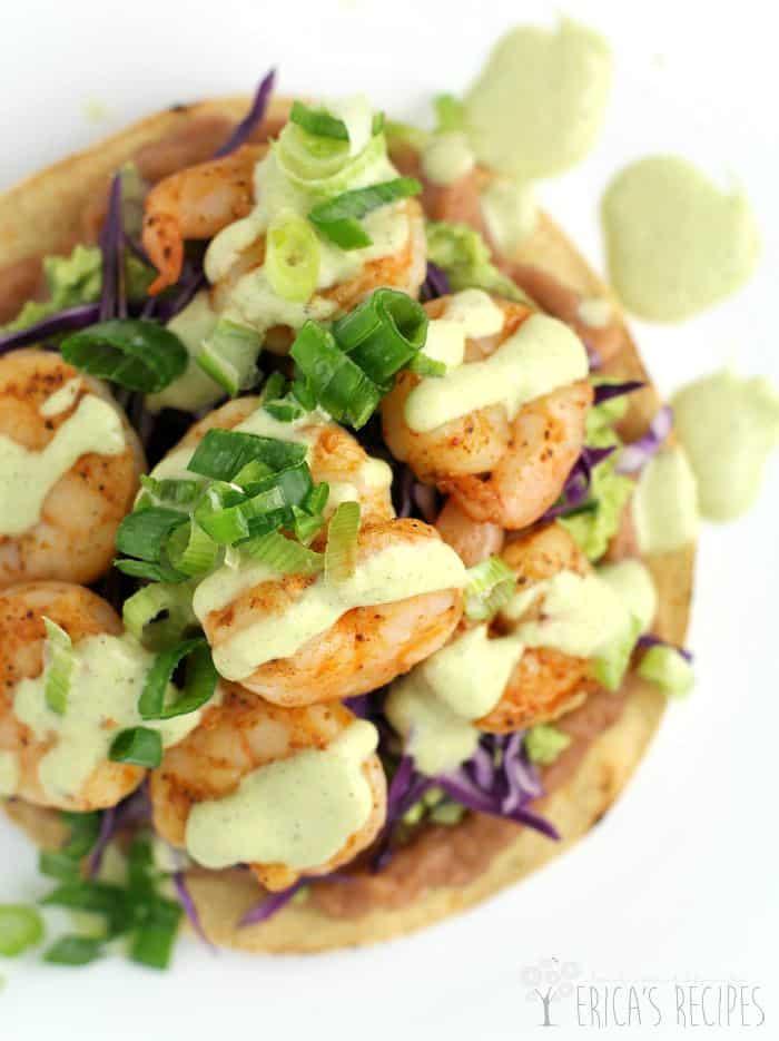 Shrimp Chalupas with Roast Poblano Sauce · Erica's Recipes