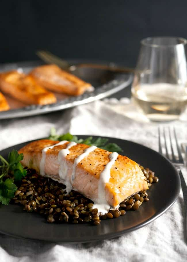 Weeknight Broiled Salmon with Lentils - Mid-Life Croissant