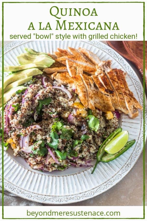 A pin for quinoa a la Mexicana on white round platter.