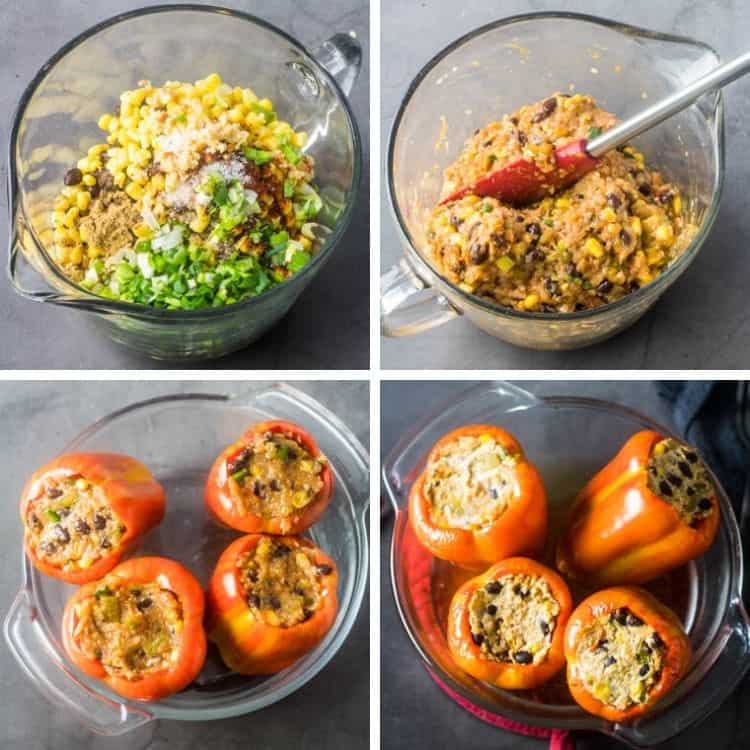 Stuffed peppers process: 1. A glass bowl with all stuffing ingredients. 2. The glass bowl with silicone spatula after thoroughly mixing the ingredients. 3. 4 orange and yellow striped bell peppers stuffed with Hatch chile and ground chicken mixture before baking. 4. The 4 stuffed peppers after baking but without the avocado crema.