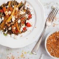 Roast Carrot Lentil Salad with Feta & Dukkah