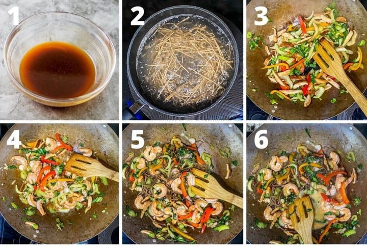 A collage of cooking steps for the stir fry: 1. make the sauce 2. boil the soba noodles 3. stir fry the vegetables 4. add the shrimp 5. add the soba noodles 6. add the sauce.