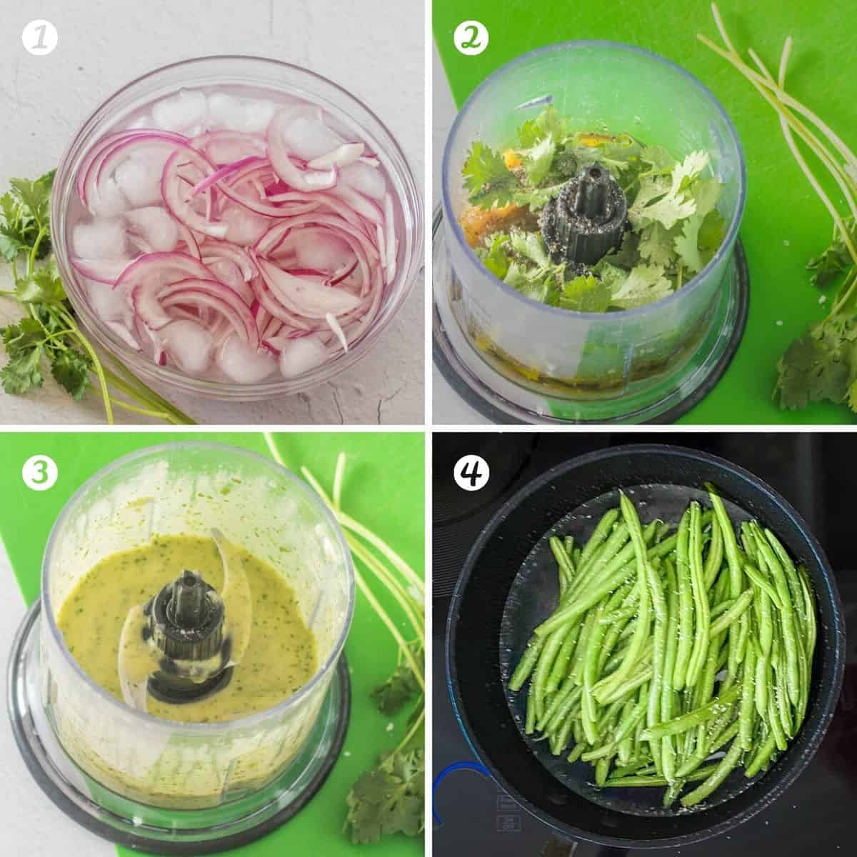 Process shots for the green beans salad - red onions in a salted ice water bath, dressing ingredients before and after processing, and steamed green beans in a small saucepan.