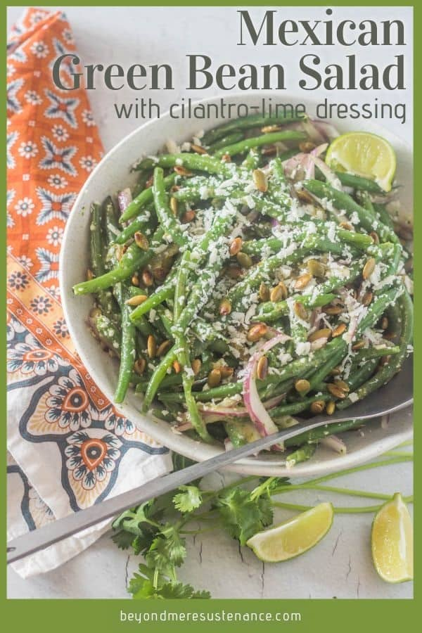 A pinterest pin for Mexican green beans salad.