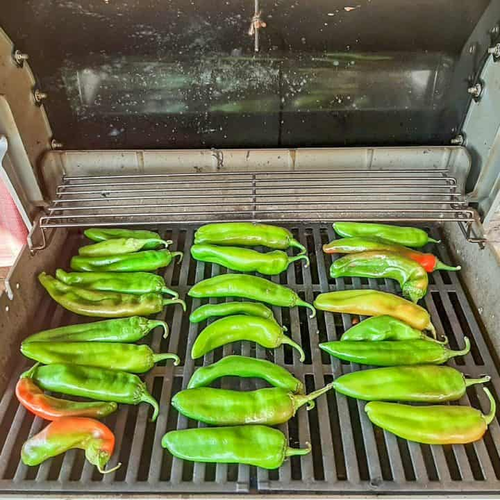 Hatch green chiles on the gas grill for roasting.