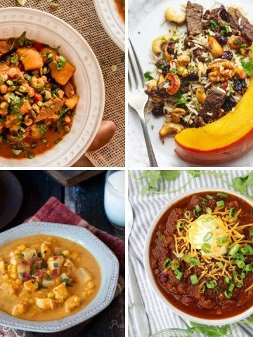 A collage of 4 Instant Pot savory pumpkin recipes with meat.