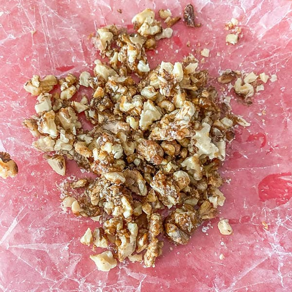 The completed candied walnuts prior to going in the pear and arugula salad.