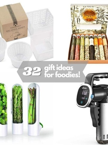 a collage of 4 gift ideas: sea salts, sous vide gauge, herb garden, cheese molds.