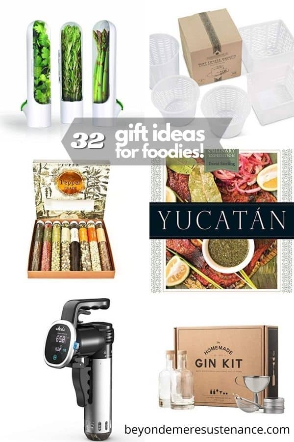 A collage of holiday gift ideas for the gourmet, the novice, the mixologist, and more!