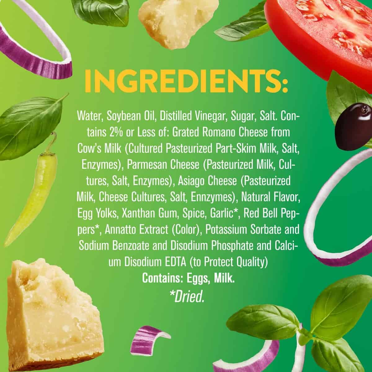 A list of unhealthy ingredients in commercial salad dressing.