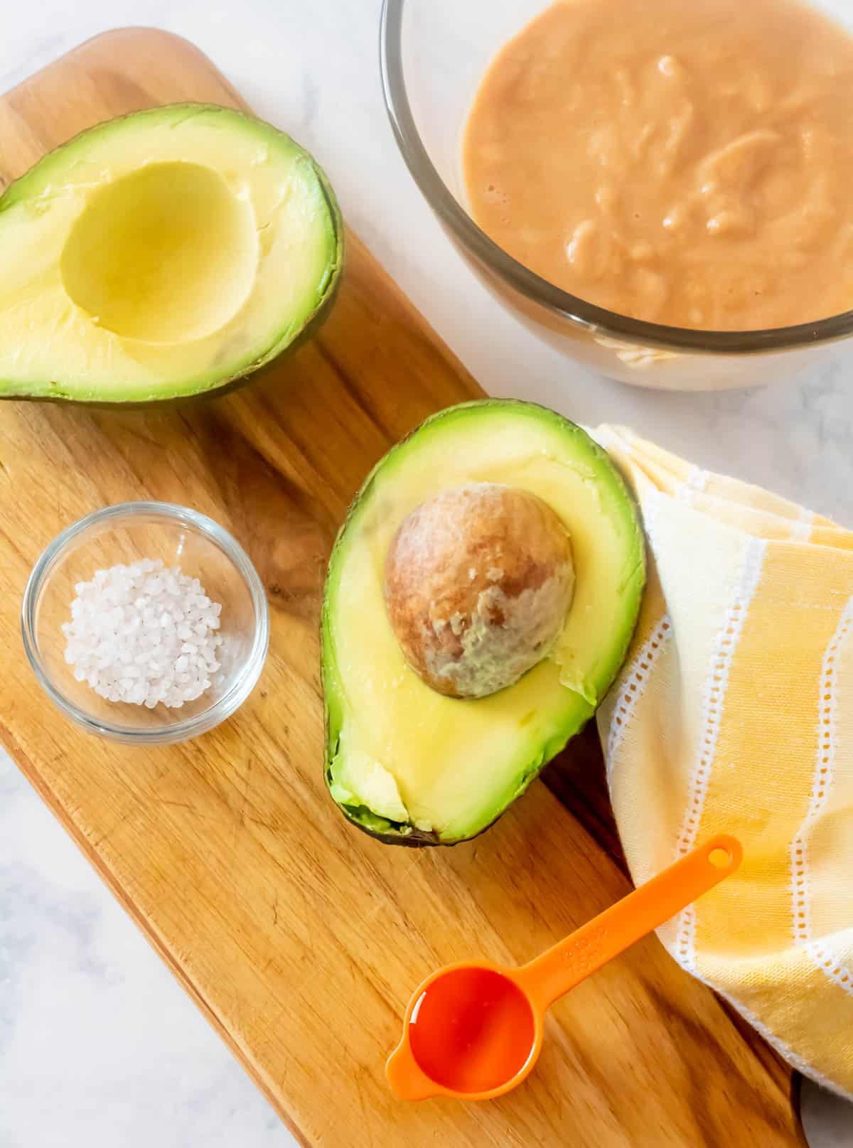 Ingredients for the ice cream: 1 large avocado, agave nectar, sea salt, cherimoya puree.