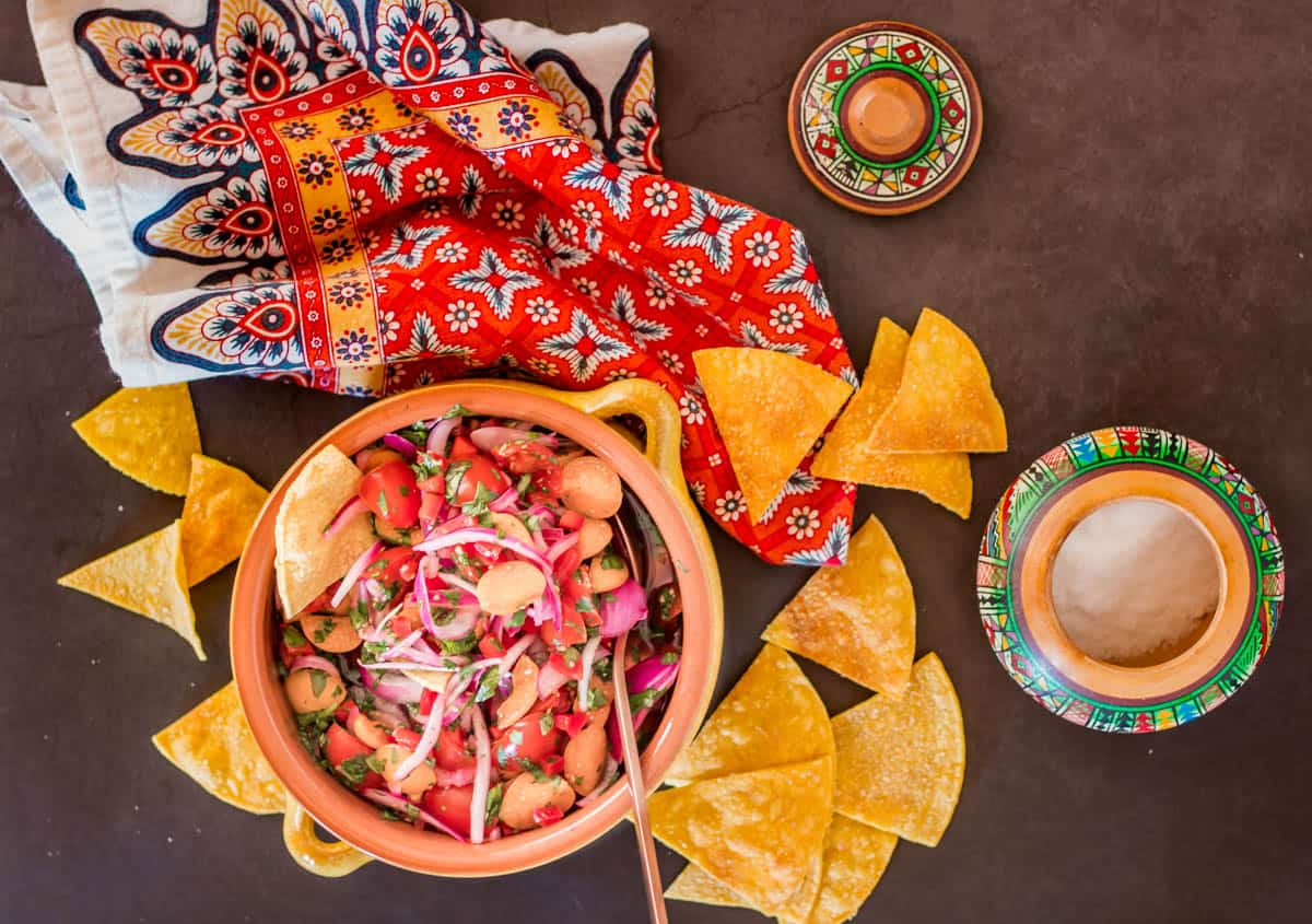 A Peruvian pottery salt bowl, tortilla chips, salsa in a terracotta pot, and a print napkin.