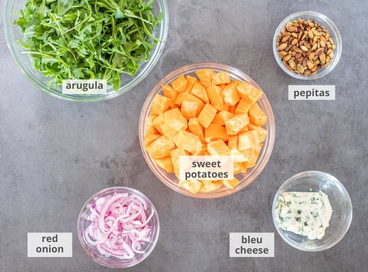 Mexican sweet potato salad ingredients: Pepitas, cubed sweet potatoes, bleu cheese, thin-sliced red onion, arugula, on a grey background.