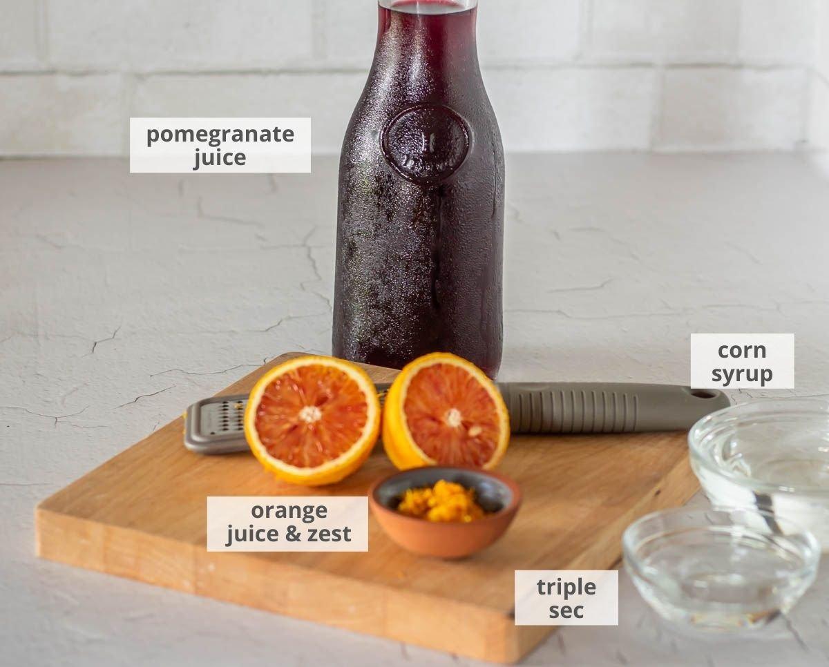 Ingredients for easy pomegranate sorbet - Pomegranate juice, fresh orange, corn syrup, triple sec.