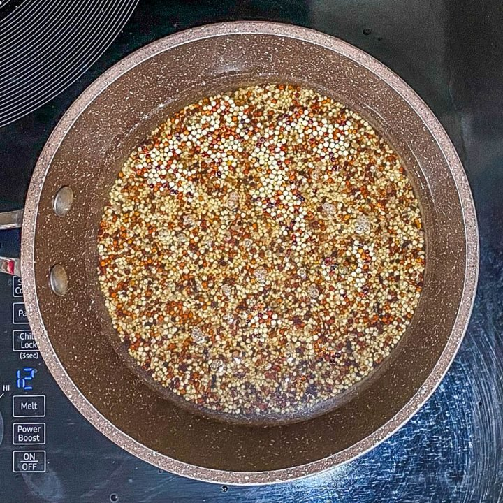 The quinoa in a saucepan with broth, and salt prior to cooking.