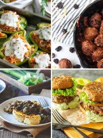 A collage of healthy ground bison recipes: Stuffed peppers, cherry and bison meatballs, healthy bison burgers, and cauliflower steaks with ground bison and caramelized onions.