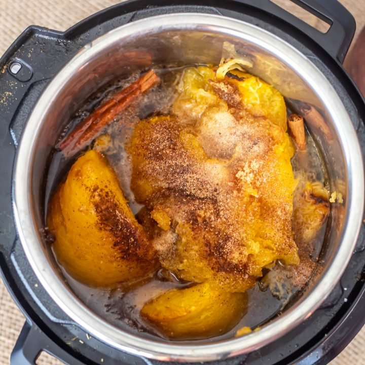 Roasted pumpkin and spices in the Instant Pot for the spiced pumpkin butter.