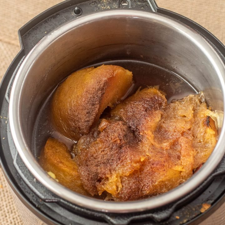 The cooked pumpkin and spices in the Instant Pot.