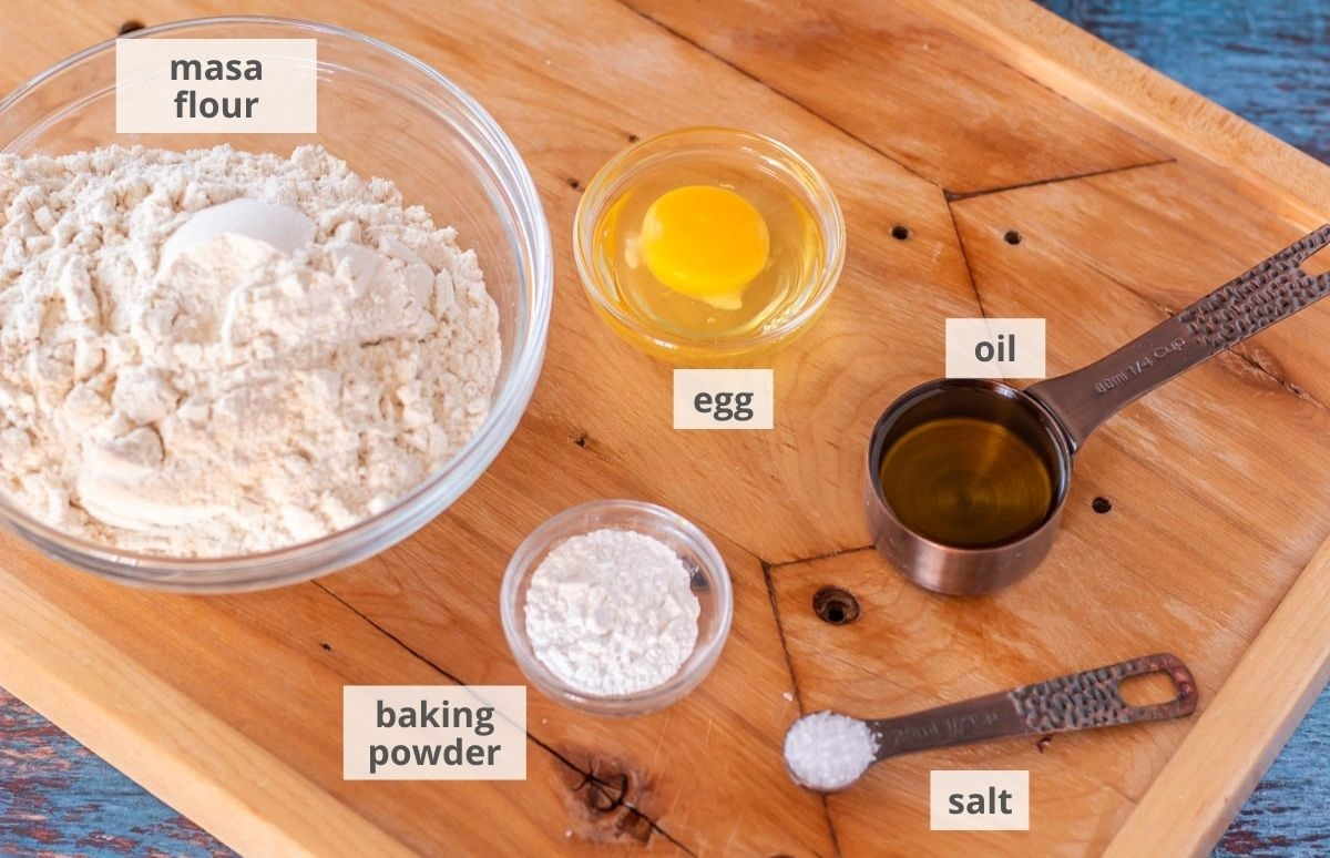 Ingredients for the Mexican sopes: Masa flour, egg, oil, salt, and baking powder.