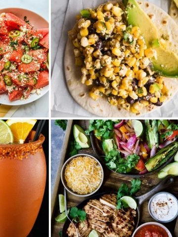 A collage of 4 recipes that use tajín.